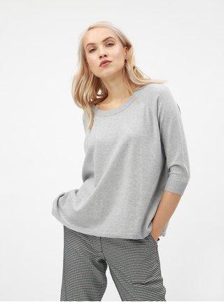 Svetlosivý oversize sveter s 3/4 rukávmi VERO MODA Karis