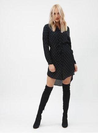 Černé puntíkované košilové šaty VERO MODA Zilia