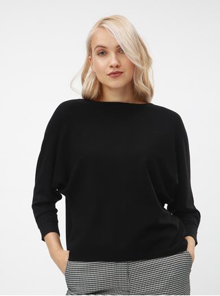 0fc717c0e68 Černý lehký volný svetr s 3 4 rukávem VERO MODA