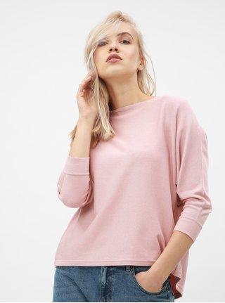 Pulover oversized lejer roz prafuit cu maneci 3/4 VERO MODA