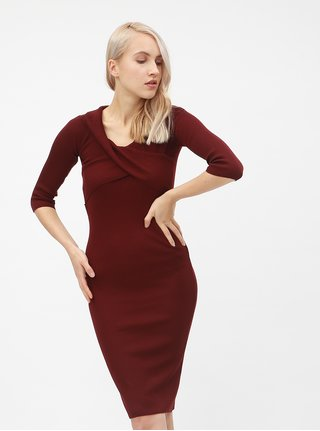 3cadf3f5106 Vínové žebrované šaty s lodičkovým výstřihem Dorothy Perkins