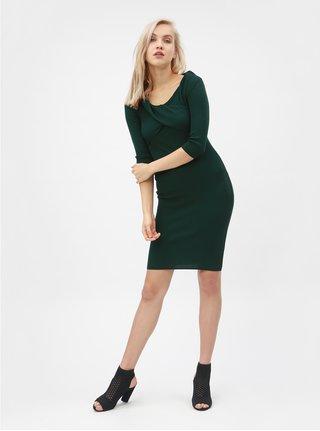 Tmavě zelené žebrované šaty s lodičkovým výstřihem Dorothy Perkins