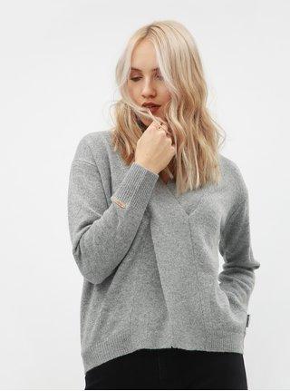 Šedý dámský vlněný svetr s překládaným detailem Maloja Torta