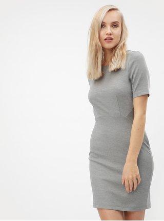 Svetlosivé melírované puzdrové šaty s krátkym rukávom VERO MODA Mynte