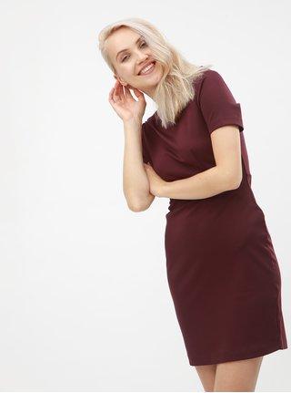 Vínové puzdrové šaty s krátkym rukávom VERO MODA Mynte