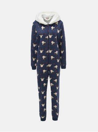 Salopeta pijama albastru inchis cu motiv ren Dorothy Perkins