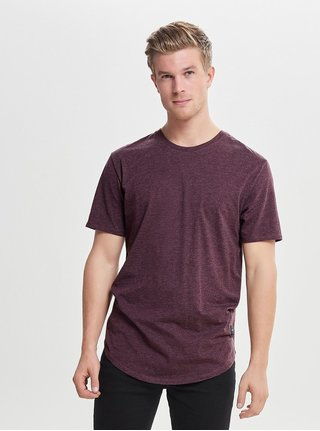Vínové žíhané basic tričko ONLY & SONS Matt