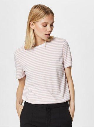 Bílo-růžové pruhované basic tričko Selected Femme MyPerfect