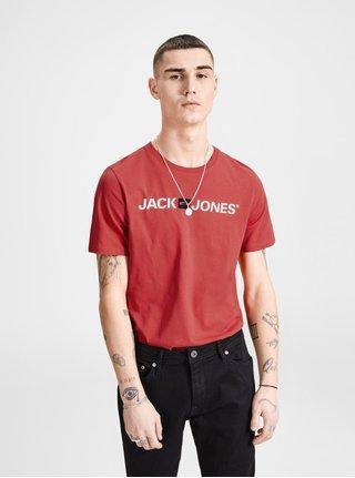 Červené tričko s potlačou Jack & Jones