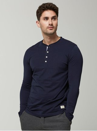 Tmavomodré tričko s dlhými rukávmi Selected Homme Niklas
