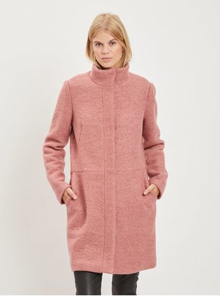 Růžový vlněný kabát VILA Lanis