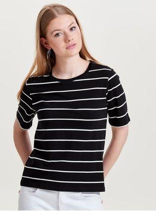 Čierne pruhované basic tričko s krátkym rukávom ONLY Live Love