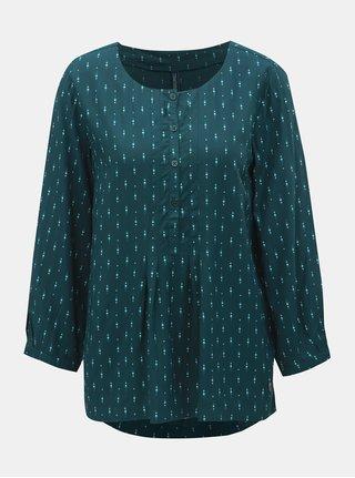 Bluza verde inchis cu model si maneci 3/4 Tranquillo Damara