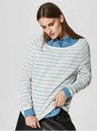 Béžový lněný svetr se světle modrými pruhy Selected Femme Nive e261b0fab0fb