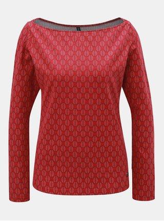Červené vzorované tričko s lodičkovým výstřihem Tranquillo Leila