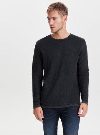 Tmavě šedý svetr s kulatým výstřihem ONLY & SONS Hugh