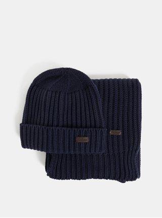 Set čepice a šály v tmavě modré barvě v dárkovém balení Barbour