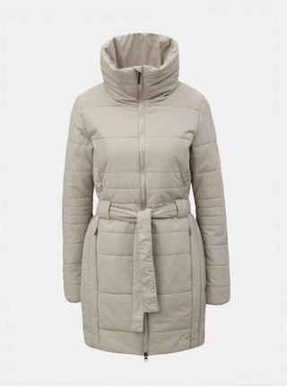 Béžový dámsky nepremokavý zimný kabát so zaväzovaním LOAP Tudora