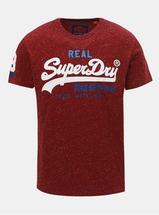 Vínové pánske tričko s krátkym rukávom Superdry