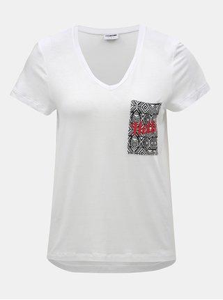 Bílé tričko se vzorovanou kapsou Noisy May Luki