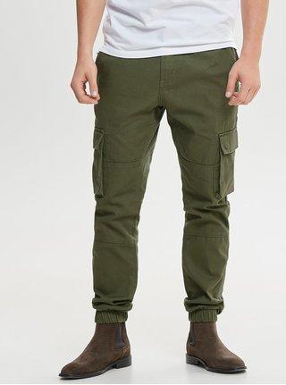 Khaki slim fit kalhoty s kapsami ONLY & SONS