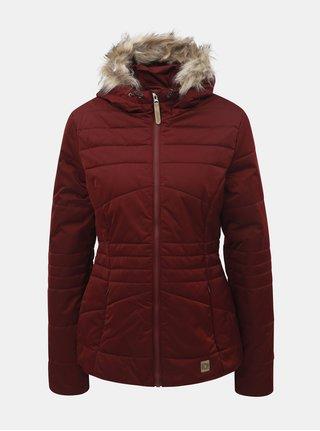 Vínová dámská zimní voděodpudivá bunda s odnímatelným kožíškem na kapuci LOAP Tiara