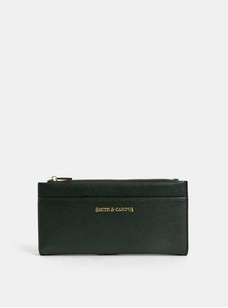 Tmavě zelená kožená velká peněženka Smith & Canova