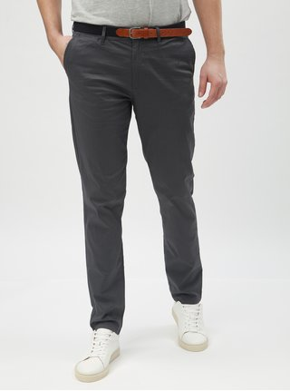 Pantaloni gri cu model chino slim Selected Homme Yard