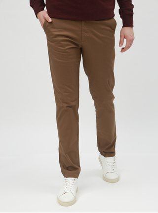 Pantaloni maro cu model chino slim Selected Homme Yard
