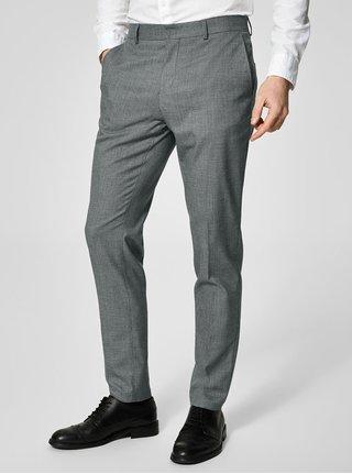 Pantaloni eleganti gri cu model geometric discret - Selected Homme Slim