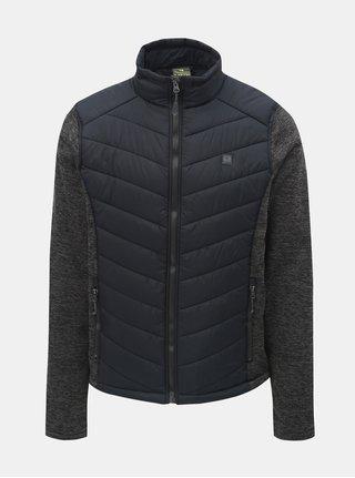 Sivo–modrá pánska melírovaná tenká bunda s mikinovými rukávmi LOAP Gabe