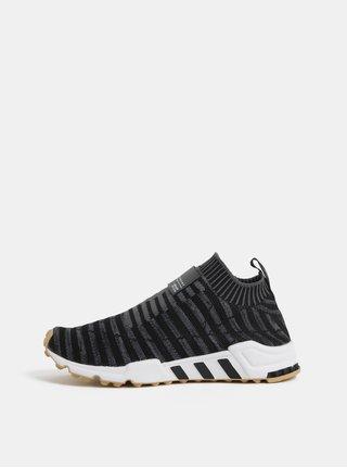 Pantofi slip on gri inchis de dama cu detaliu din piele adidas Originals