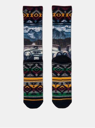 Modro-černé pánské ponožky s motivem horské přírody XPOOOS