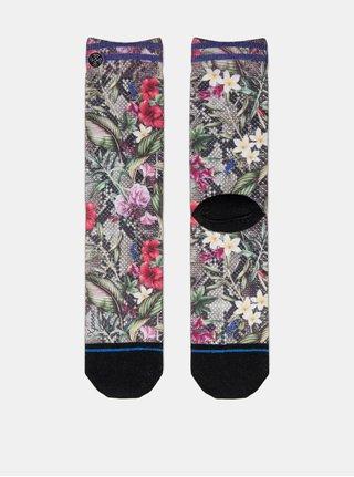 Zeleno-černé dámské květované ponožky XPOOOS