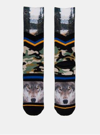 Zeleno-černé pánské maskáčové ponožky s motivem vlka a lesa XPOOOS
