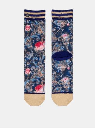 Béžovo–modré dámske kvetované ponožky XPOOOS