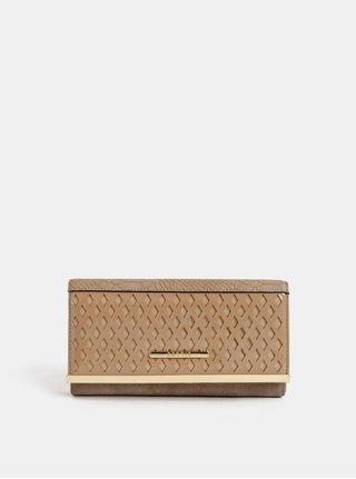 Béžová veľká peňaženka s detailmi v zlatej farbe Bessie London
