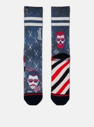 Červeno-modré pánské ponožky s motivem nůžek XPOOOS