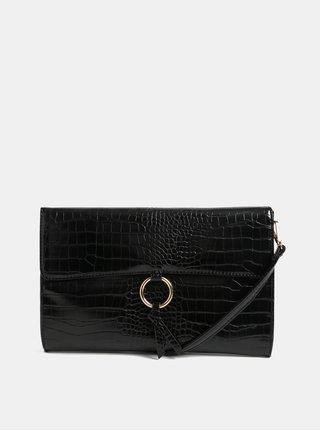 Čierna listová kabelka s hadím vzorom Dorothy Perkins