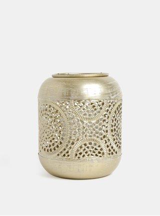Svícen ve zlaté barvě s geometrickým motivem Kaemingk