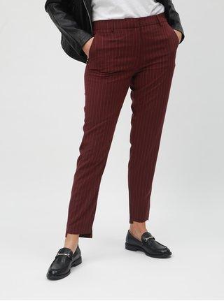 Vínové zkrácené pruhované kalhoty s příměsí vlny Selected Femme Famila