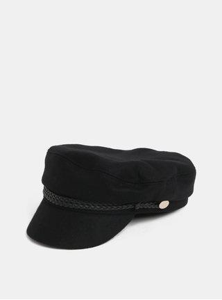 Černý baret s kšiltem a příměsí vlny Pieces