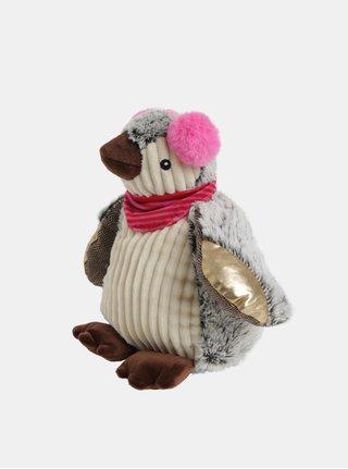Šedo-béžový plyšový nahřívací tučňák s vůní levandule Something Special
