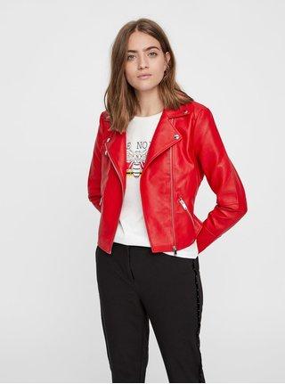 Červená koženková bunda s detailmi v striebornej farbe Noisy May Allan