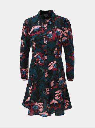 Růžovo-zelené květované košilové šaty Jacqueline de Yong Valentina