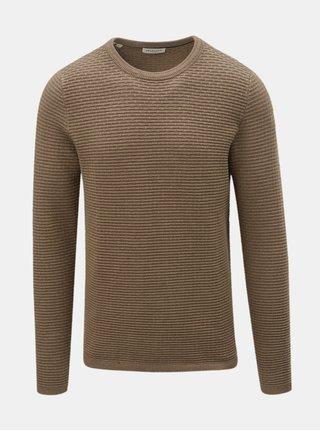Béžový sveter s okrúhlym výstrihom Selected Homme New Dean