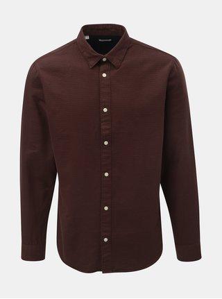 Hnědá slim fit košile s dlouhým rukávem Selected Homme Andrew