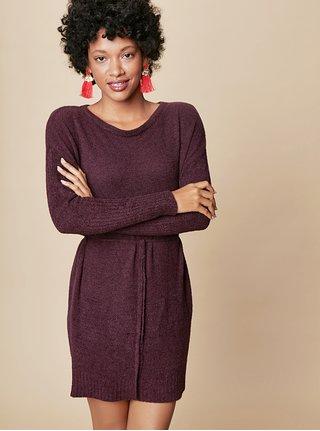 Tmavě fialové svetrové minišaty s dlouhým rukávem a zavazováním touch me.