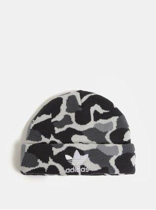 Šedá pánská vzorovaná čepice s výšivkou adidas Originals