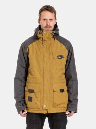 Šedo-hořčicová pánská voděodolná zimní bunda s podšívkou z umělé kožešiny NUGGET Arsenal